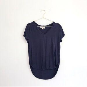 Cloth & Stone Navy Blue Rayon V-Neck T-Shirt